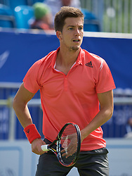 LIVERPOOL, ENGLAND - Thursday, June 18, 2015: Aljaz Bedene (GBR) during Day 1 of the Liverpool Hope University International Tennis Tournament at Liverpool Cricket Club. (Pic by David Rawcliffe/Propaganda)