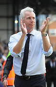 Alan Pardew appluades the home support after the Barclays Premier League match between Crystal Palace and Manchester City at Selhurst Park, London, England on 12 September 2015. Photo by Michael Hulf.