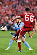 May 24, 2017: Liverpool FC player Trent Alexander-Arnold (66) kicks the ball downfield at the soccer match, between English Premiere League team Liverpool FC and Sydney FC, played at ANZ Stadium in Sydney, NSW Australia.