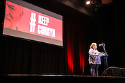 PCS presidet Janice Godrich reads a letter of support from General Secretary Mark Serwotka at the #KeepCorbyn evening, part of the #JC4PM tour a fringe event orgainised as part of the TUC 2016 by PCS. Brighton, UK.
