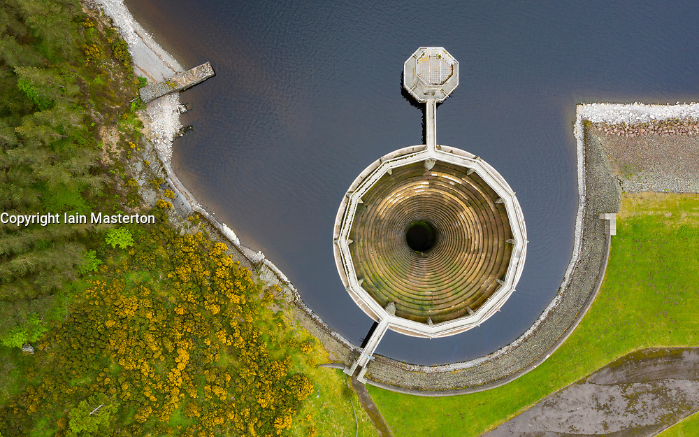 East Lothian, Scotland, UK. 14 June 2020. With very little rainfall in the last 3 months water levels in the Whiteadder reservoir have dropped below the level of the bell mouth spillway. Iain Masterton/Alamy Live News