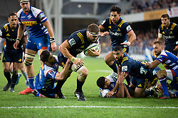 Highlanders' Luke Whitelock, centre, dives in to score a try against the Stormers in the Super Rugby match, Forsyth Barr Stadium, Dunedin, New Zealand, Friday, March 9, 2018. Credit:SNPA / Adam Binns ** NO ARCHIVING**