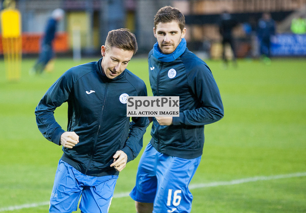 Livingston v Queen of the South, Scottish Championship, 2 January 2016,  Chris Higgins (Queen of the South, 6) & Kyle Hutton (Queen of the South, 16) warm up before the Livingston v Queen of the South Scottish Championship match played at the Toni Macaroni Arena, © Chris Johnston | SportPix.org.uk