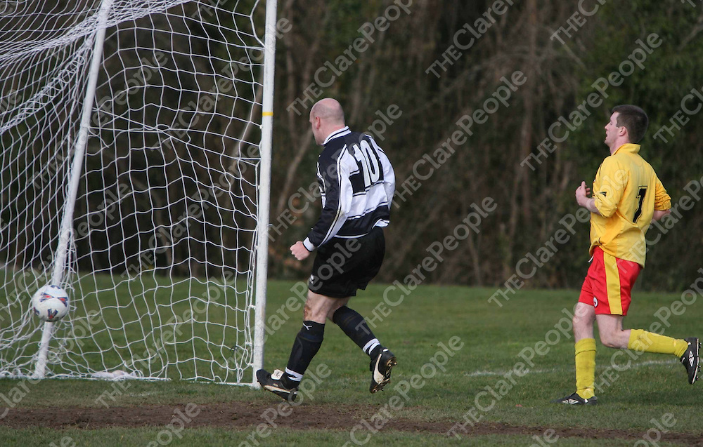 Dessie Molohan scoring Moher's third goal during the Avenue V Moher Celtic match at Lees Road on Sunday.<br /> <br /> Photograph by Eamon Ward