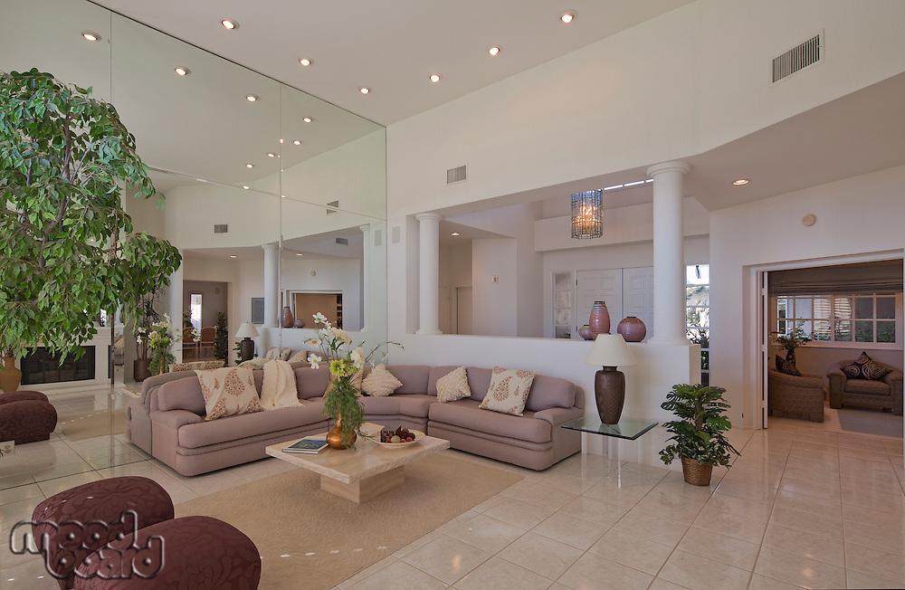 Stylish living room interior of luxury mansion