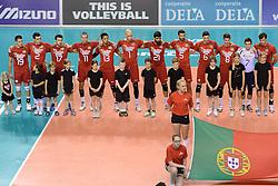 07-06-2014 NED: WLV Nederland - Portugal, Almere<br /> Een moeizame overwinning op Portugal levert Nederland twee punten op / Line up Portugal