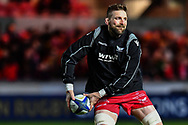 Scarlets' John Barclay during the pre match warm up<br /> <br /> Photographer Craig Thomas/Replay Images<br /> <br /> European Rugby Champions Cup Round 5 - Scarlets v Toulon - Saturday 20th January 2018 - Parc Y Scarlets - Llanelli<br /> <br /> World Copyright &copy; Replay Images . All rights reserved. info@replayimages.co.uk - http://replayimages.co.uk