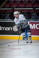 KELOWNA, CANADA - MARCH 18: Kaden Elder #11 of Seattle Thunderbirds warms up against the Kelowna Rockets on March 18, 2015 at Prospera Place in Kelowna, British Columbia, Canada.  (Photo by Marissa Baecker/Shoot the Breeze)  *** Local Caption *** Kaden Elder;