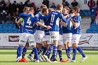 1. divisjon fotball 2015: Hødd - Fredrikstad. Hødds Joakim Wrele (t.h.) gratuleres for sin 1-0 scoring i førstedivisjonskampen mellom Hødd og Fredrikstad på Høddvoll. Dette var den første scoringen i seriekamp på nye Høddvoll.