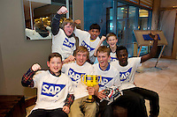 20/01/2013 repro free Citywise from Jobstown crowned 2013 FIRST LEGO League Champions organized by the Galway education centre and SAP. .A team of seven students seen here celebrating from Citywise Education Youth Centre in  Jobstown, Tallaght were crowned Irish Champions at the National final of the FIRST LEGO LEAGUE Championship 2013! The youngsters won the title following a nail biting live final battle against the French team in The Radisson Blu Hotel Galway with their personally designed and programmed Robot.