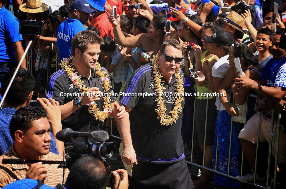 Captain Richie McCaw and Coach Steve Hansen walk during a parade for the New Zealand All Blacks ahead of their one off test match againt Samoa in Apia. 7 July 2015. Photo: Samoa Observer / photosport.nz