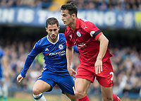 Football - 2016/2017 Premier League - Chelsea V Leicester.<br /> <br /> Eden Hazard of Chelsea watches Luis Hernández of Leicester City at Stamford Bridge.<br /> <br /> COLORSPORT/DANIEL BEARHAM