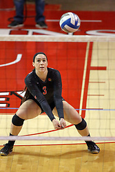 07 November 2014:  Emily Orrick stoops for a dig during an NCAA womens volleyball match between the Loyola Ramblers and the Illinois State Redbirds at Redbird Arena in Normal IL