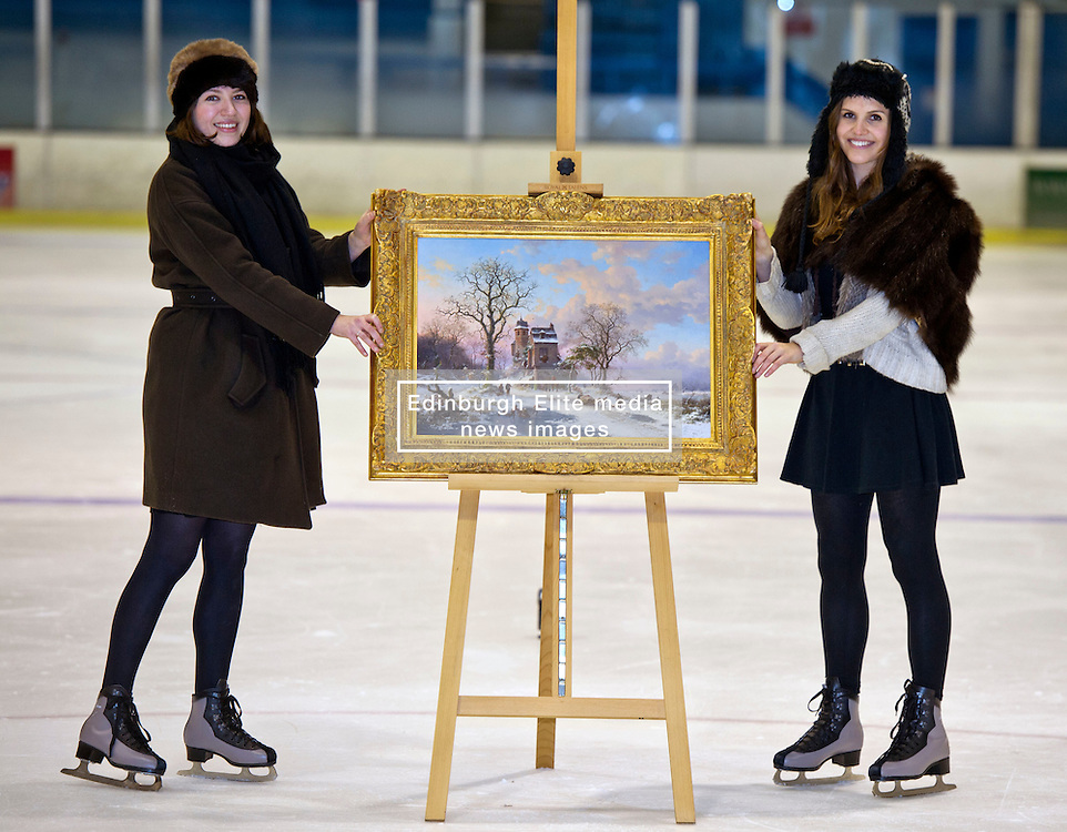 Charlotte Riordhan and Lydia Stoker got their skates on with a picture, A Winter Landscape, by Frederik Marinus Kruseman of snow clad Amsterdam at Murrayfield Ice Rink in Edinburgh. 'A Winter Landscape', valued at £40-60,000,  is from an important private Scottish collection of 19th century Dutch Paintings, which will be sold at Lyon & Turnbull on the 29th November 2012 © Ger Harley | StockPix.eu 19 November 2012
