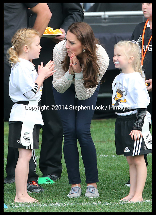 The Duke and Duchess of Cambridge at a Rippa rugby event in Dunedin, New Zealand. Sunday, 13th April 2014. Picture by Stephen Lock / i-Images