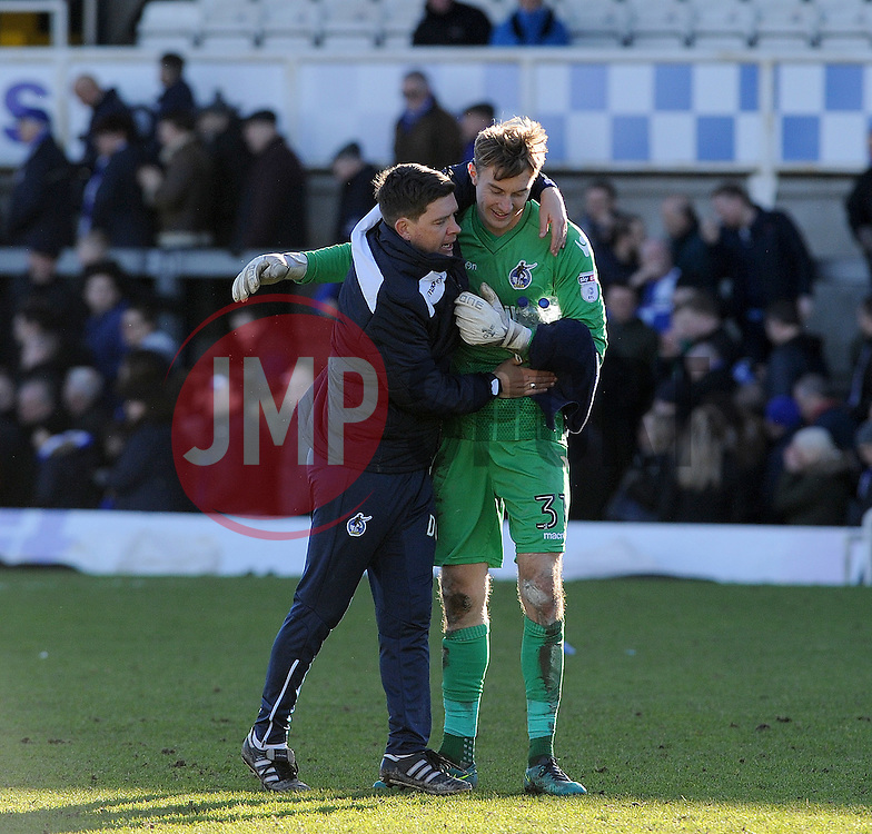 Bristol Rovers manager Darrell Clarke with Joe Lumley - Mandatory by-line: Neil Brookman/JMP - 28/01/2017 - FOOTBALL - Memorial Stadium - Bristol, England - Bristol Rovers v Swindon Town - Sky Bet League One