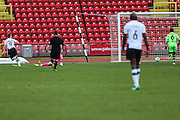 Gateshead's Danny Johnson(9) shoots at goal scores a goal 1-0  during the Vanarama National League match between Gateshead and Forest Green Rovers at Gateshead International Stadium, Gateshead, United Kingdom on 18 February 2017. Photo by Shane Healey.