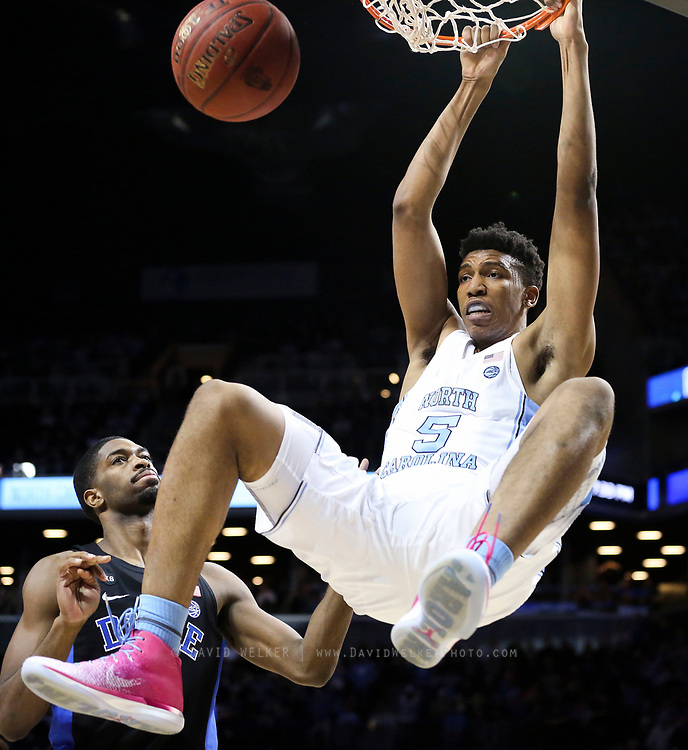 North Carolina forward Tony Bradley (5) dunks the ball during the semifinals of the 2017 New York Life ACC Tournament at the Barclays Center in Brooklyn, N.Y., Friday, March 10, 2017. (Photo by David Welker, theACC.com)