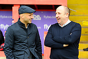 Exeter City manager Paul Tisdale talking with Accrington Stanley manager John Coleman before the EFL Sky Bet League 2 match between Exeter City and Accrington Stanley at St James' Park, Exeter, England on 11 March 2017. Photo by Graham Hunt.