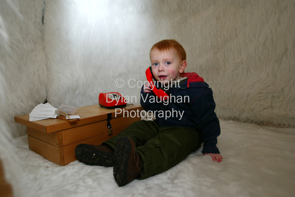 """6/12/2002.Odhran O' Shea aged 3 from Kilkenny pictured with work by Caroline Walsh and Jennifer Walshe entitled """"Warm/Cold at the Soundshapes Exhibition at the National Crafts Gallery in Kilkenny over the weekend..Picture Dylan Vaughan"""