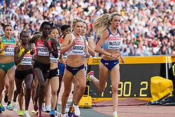London, August 10 2017 . Karoline Bjerkeli Grøvdal, Norway, and Eilish McColgan, Great Britain, lead the way in the women's 5,000m heats on day seven of the IAAF London 2017 world Championships at the London Stadium. © Paul Davey.