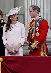 Prince William and the Duchess of Cambridge on the Balcony of Buckingham Palace during Trooping The Colour, London, United Kingdom,<br /> Saturday, 15th June 2013<br /> Picture by Andrew Parsons / i-Images