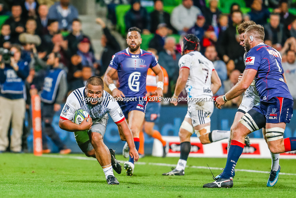 Andrew Makalio scores a try during Rebels v Crusaders, 2018 Super Rugby season, AAMI Park, Melbourne, Australia. 4 May 2018. Copyright Image: Brendon Ratnayake / www.photosport.nz