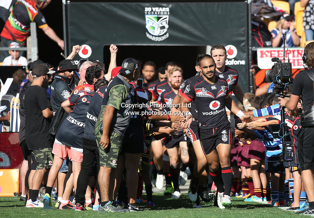 Warriors player Thomas Leuluai runs out with the team for the first 2015 home game during  the NRL Rugby League match between the NZ Warriors and the Parramatta Eels played at Mt Smart Stadium in South Auckland on the 21st March 2015. <br /> <br /> Copyright Photo; Peter Meecham/ www.photosport.co.nz