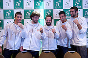 (L-R) Borna Coric &amp; Marin Draganja &amp; Zeljko Krajan - captain national team &amp; Mate Pavic &amp; Marin Cilic while official draw at Regent Hotel one day before the BNP Paribas Davis Cup 2014 between Poland and Croatia at Torwar Hall in Warsaw on April 3, 2014.<br /> <br /> Poland, Warsaw, April 3, 2014<br /> <br /> Picture also available in RAW (NEF) or TIFF format on special request.<br /> <br /> For editorial use only. Any commercial or promotional use requires permission.<br /> <br /> Mandatory credit:<br /> Photo by &copy; Adam Nurkiewicz / Mediasport