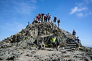 © Licensed to London News Pictures. 17/05/2014. Capel Curig, UK. The summit of Snowdon. Walkers climb Snowdon in warm sunshine in North Wales today 17th May 2014. Photo credit : Stephen Simpson/LNP