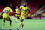 AFC Wimbledon midfielder Tom Soares (19) celebrating after scoring goal during the EFL Trophy match between Charlton Athletic and AFC Wimbledon at The Valley, London, England on 4 September 2018.