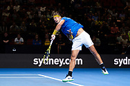 SYDNEY, NSW - JANUARY 07: Rafael Nadal (ESP) serves at The Sydney FAST4 Tennis Showdown on January 07, 2018, at Qudos Bank Arena in Homebush, Australia. (Photo by Speed Media/Icon Sportswire)