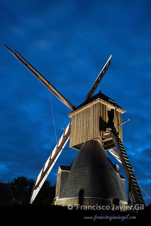Cavier windmill in Avrille near Angers, Maine-et-Loire, France