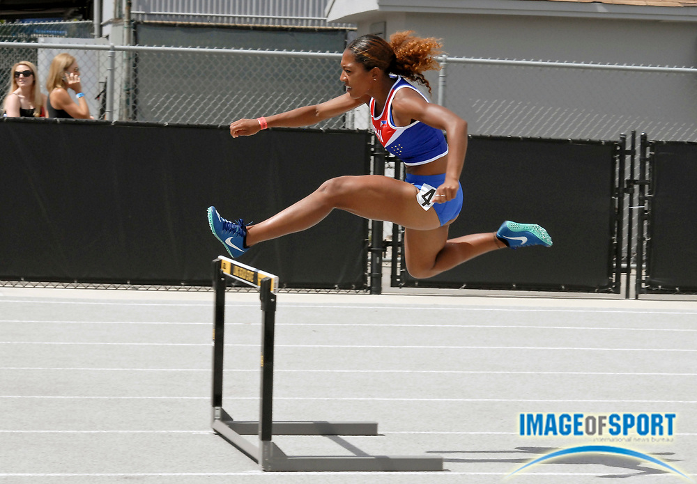 Robyn Brown (PHI) places third in the women's 400m hurdles in 59.57 during the Jim Bush Southern California USATF Championships, Saturday, June 29, 2019, in Long Beach,  Calif.  (Ken McLin/Image of Sport)