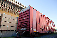 Industrial railway carriage transporting Lumber by rail
