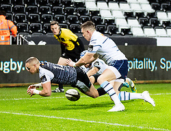 Hanno Dirksen of Ospreys knocks on just short of the line <br /> <br /> Photographer Simon King/Replay Images<br /> <br /> Guinness PRO14 Round 8 - Ospreys v Cardiff Blues - Saturday 21st December 2019 - Liberty Stadium - Swansea<br /> <br /> World Copyright © Replay Images . All rights reserved. info@replayimages.co.uk - http://replayimages.co.uk