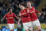 Gary Gardner (Nottingham Forest) celebrates scoring the opening goal, 1-0 to the visitors during the Sky Bet Championship match between Hull City and Nottingham Forest at the KC Stadium, Kingston upon Hull, England on 15 March 2016. Photo by Mark P Doherty.