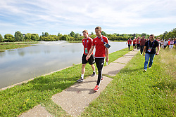 LYON, FRANCE - Wednesday, July 6, 2016: Wales' Simon Church and Andy King on a pre-match walk near their team hotel before the UEFA Euro 2016 Championship Semi-Final match against Portugal. (Pic by David Rawcliffe/Propaganda)