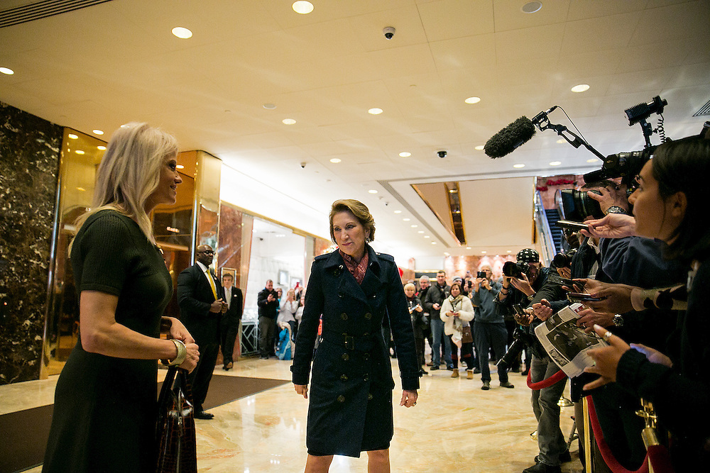 NEW YORK, NY - DECEMBER 12, 2016: Former Republican presidential candidate Carly Fiorina and KellyAnne Conway, campaign manager for President-elect Donald J. Trump, walk through the lobby of Trump Tower in New York, New York. CREDIT: Sam Hodgson for The New York Times.