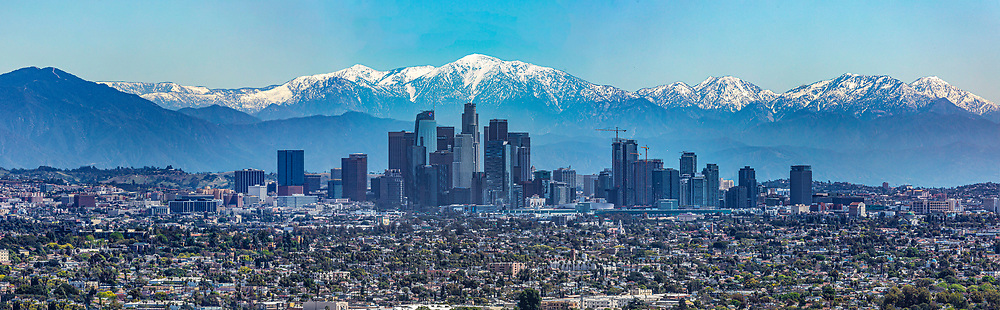 Low air pollution levels continue in the Los Angeles basin due to less drivers on the road and local manufacturers shut down during the Covid-10 pandemic.<br /> 4/15/2020 Los Angeles, CA USA