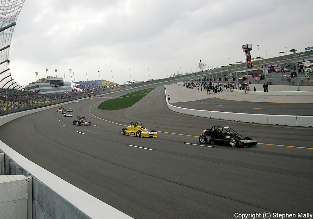 05 MAY 2007: Silver Crown cars drive through turn one during the Silver Crown race at the Casey's General Stores USAC Triple Crown at the Iowa Speedway in Newton, Iowa on May 5, 2007.