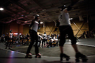 Halftime. The San Diego Derby Dolls skated to victory, beating the Mitten Kittens of Michigan 193-58 in their first home bout on their new banked track.