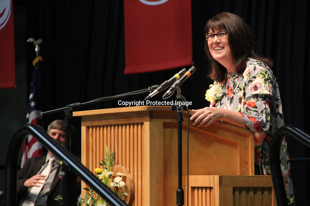 Debra Bowman, a Tremont graduate and counselor, gives advice to THS graduates.