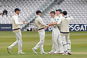 Ethan Bamber is congratulated for getting Paul Horton LBW during the Specsavers County Champ Div 2 match between Middlesex County Cricket Club and Leicestershire County Cricket Club at Lord's Cricket Ground, St John's Wood, United Kingdom on 17 May 2019.
