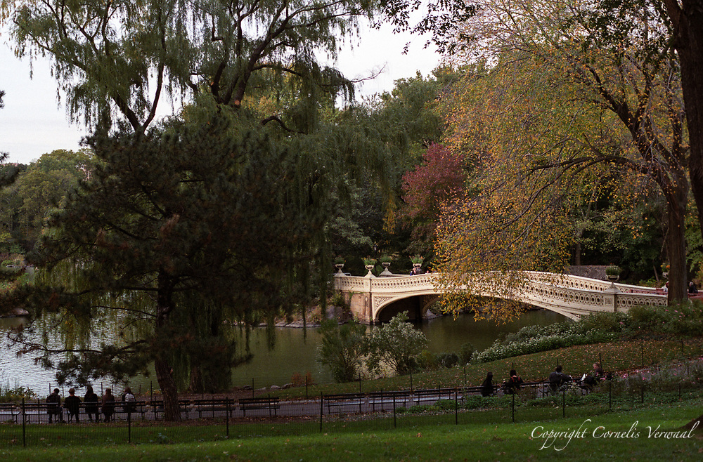 Bow Bridge in Central Park seen from Cherry Hill