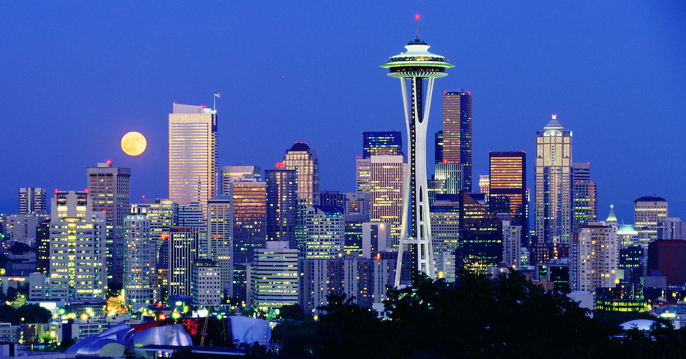 Seattle Skyline with full moon.