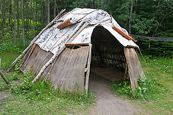 Wigwam shelter with birch bark paneling, Grand Portage National Monument, Grand Portage, Minnesota, United States of America