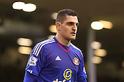 Sunderland goalkeeper Vito Mannone  during the Barclays Premier League match between Liverpool and Sunderland at Anfield, Liverpool, England on 6 February 2016. Photo by Simon Davies.