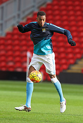 LIVERPOOL, ENGLAND - Sunday, February 7, 2016: Manchester City's Tosin Adarabioyo warms-up before the Under-21 FA Premier League match against Liverpool at Anfield. (Pic by David Rawcliffe/Propaganda)