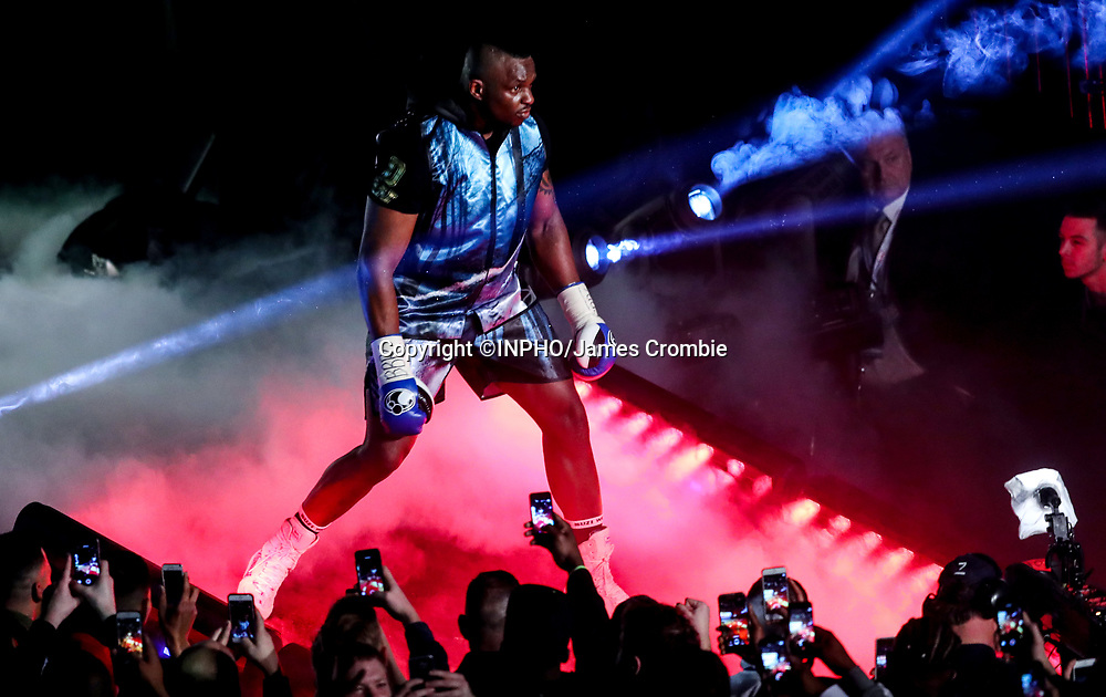 WBC World Heavyweight Title Eliminator &amp; WBC International Championship, Manchester Arena, Manchester, England 10/12/2016<br /> WBC World Heavyweight Title Eliminator &amp; WBC International Championship.<br /> Dillian Whyte makes his entrance before his fight with Dereck Chisora<br /> Mandatory Credit &copy;INPHO/James Crombie